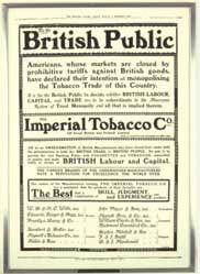 Anuncio de la constitución de la Imperial Tobacco Company en 1901.